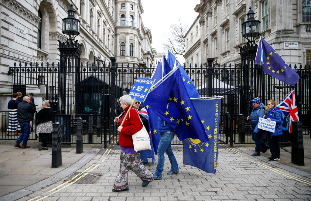 Anti-Brexit protesters are seen in front of Downing Street in Londo…