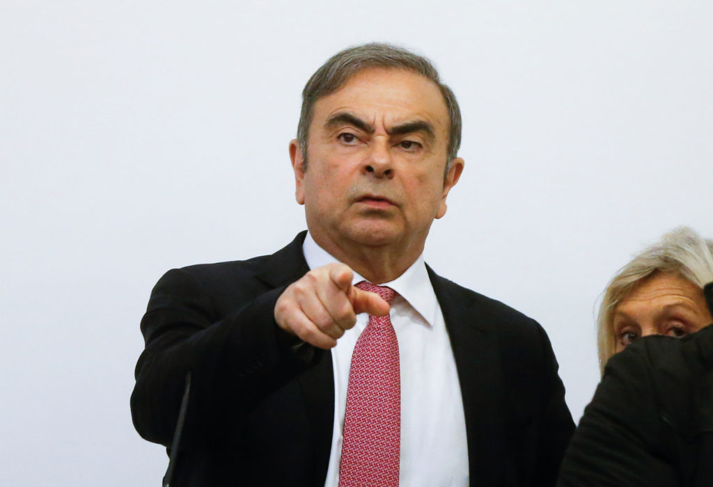 Former Nissan chairman Carlos Ghosn gestures during a news conference at the Lebanese Press Syndicate in Beirut, Lebanon J...