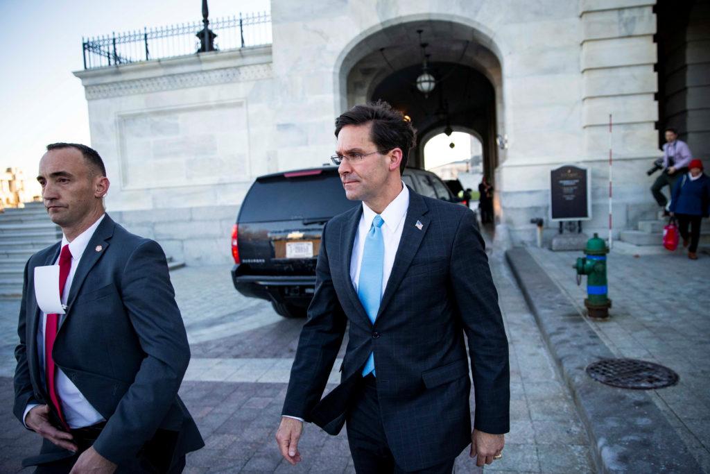 U.S. Defense Secretary Mark Esper departs following a briefing on d…
