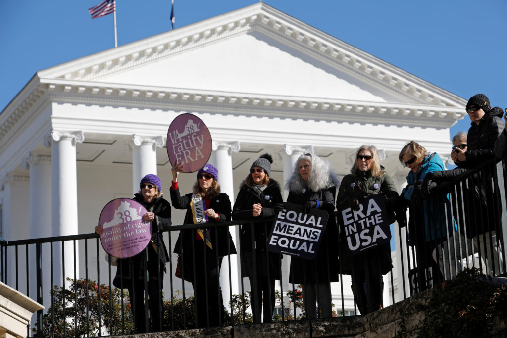 Activists calling for Virginia's adoption of the Equal Rights Amendment gather outside the Virginia State Capitol building as the General Assembly prepares to convene in Richmond, Virginia, U.S. January 8, 2020. Photo by Jonathan Drake/Reuters