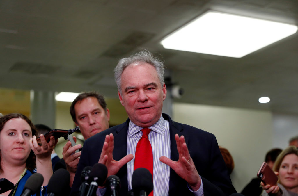 Sen. Tim Kaine, D-Va., talks to reporters following a classified national security briefing of the U.S. Senate on developments with Iran after attacks by Iran on U.S. forces in Iraq, at the U.S. Capitol on Jan. 8, 2020. Photo by REUTERS/Tom Brenner