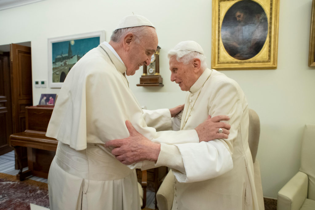 FILE PHOTO: Pope Francis visits his predecessor, Pope Emeritus Benedict XVI, at the Mater Ecclesiae Monastery in Vatican, December 21, 2018. Picture taken December 21, 2018. Vatican Media/Handout via REUTERS
