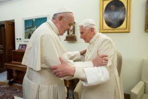 FILE PHOTO: Pope Francis visits his predecessor, Pope Emeritus Benedict XVI, at the Mater Ecclesiae Monastery in Vatican, December 21, 2018. Picture taken December 21, 2018. Vatican Media/Handout via REUTERS