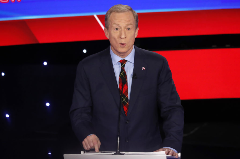 Democratic 2020 U.S. presidential candidate billionaire activist Tom Steyer speaks during the seventh Democratic 2020 presidential debate at Drake University in Des Moines, Iowa, U.S., January 14, 2020. Photo by Shannon Stapleton/Reuters