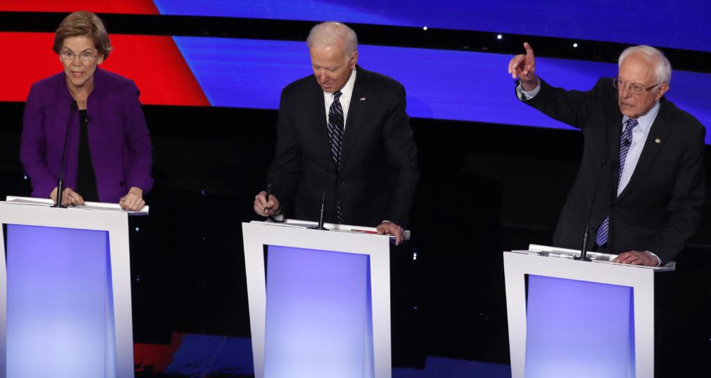 Democratic 2020 U.S. presidential candidates Senator Elizabeth Warren (D-MA), former Vice President Joe Biden and Senator ...