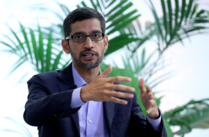 Sundar Pichai, CEO of Google and Alphabet, speaks on artificial intelligence during a Bruegel think tank conference in Brussels, Belgium January 20, 2020. Photo by Yves Herman/Reuters