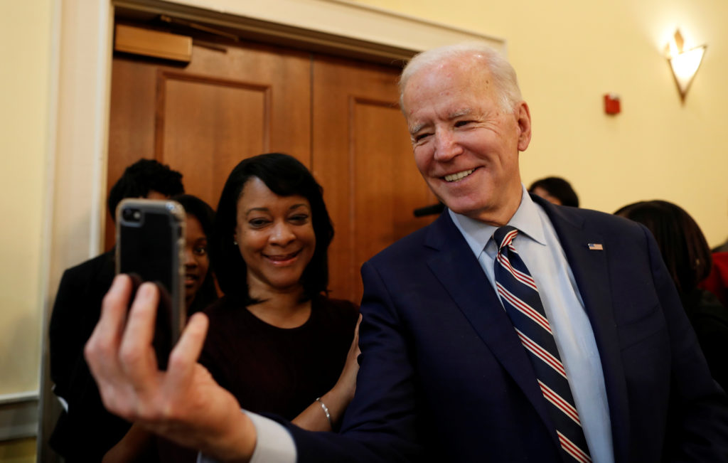 Democratic U.S. presidential candidate and former U.S. Vice President Joe Biden takes a selfie with a participant at the Columbia Urban League annual Dr. Martin Luther King Jr.: Keeping The Legacy Alive breakfast in West Columbia, South Carolina, U.S. January 20, 2020. Photo by Randall Hill/Reuters