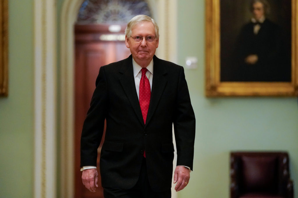 Senate Majority Leader Mitch McConnell (R-KY) arrives for the first day of the Senate impeachment trial of U.S. President Donald Trump on Capitol Hill in Washington, U.S., January 21, 2020. Photo by Joshua Roberts/Reuters