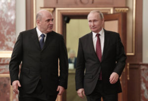 Russian President VladimirPutin and Prime Minister Mikhail Mishustin arrive for a meeting with members of the new government in Moscow, Russia January 21, 2020. Sputnik/Aleksey Nikolskyi/Kremlin via REUTERS