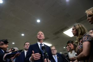 House Managers Rep. Adam Schiff (D-CA) speaks next to Rep. Jerry Nadler (D-NY) during a news conference near the Senate Subway to discuss the Senate impeachment trial of President Trump in Washington, U.S., January 22, 2020. Photo by Mary F. Calvert/Reuters.