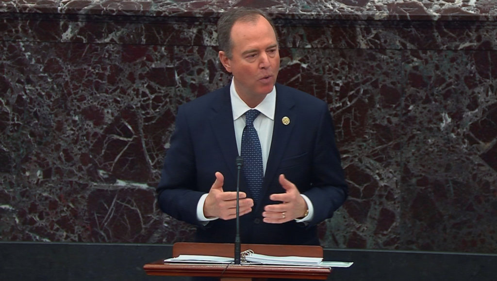 Lead manager House Intelligence Committee Chairman Adam Schiff (D-CA) delivers an opening argument during the second day o...