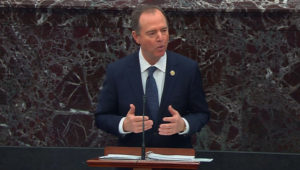 Lead manager House Intelligence Committee Chairman Adam Schiff (D-CA) delivers an opening argument during the second day of the U.S. Senate impeachment trial of U.S. President Donald Trump in this frame grab from video shot in the U.S. Senate Chamber at the U.S. Capitol in Washington, U.S., January 22, 2020. REUTERS/U.S. Senate TV/Handout via Reuters