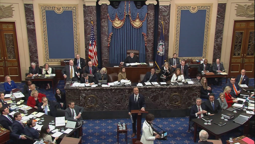 Lead manager House Intelligence Committee Chairman Adam Schiff (D-CA) delivers an opening argument as Senate Majority Lead...
