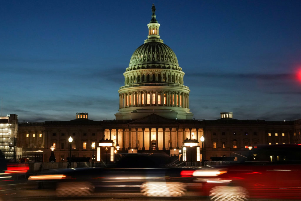 The exterior of the U.S. Capitol is seen at sunset on the second da…