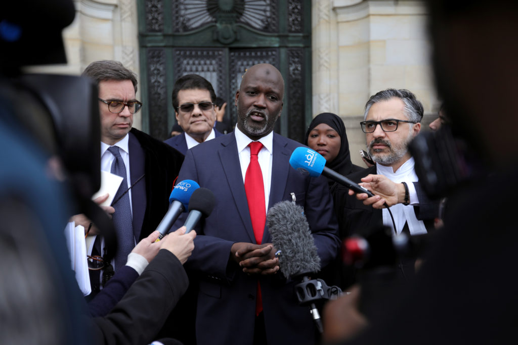 Gambia's Justice Minister Abubacarr Tambadou talks to the media outside the International Court of Justice (ICJ), after the ruling in a case filed by Gambia against Myanmar alleging genocide against the minority Muslim Rohingya population, in The Hague, Netherlands January 23, 2020. Photo by REUTERS/Eva Plevier