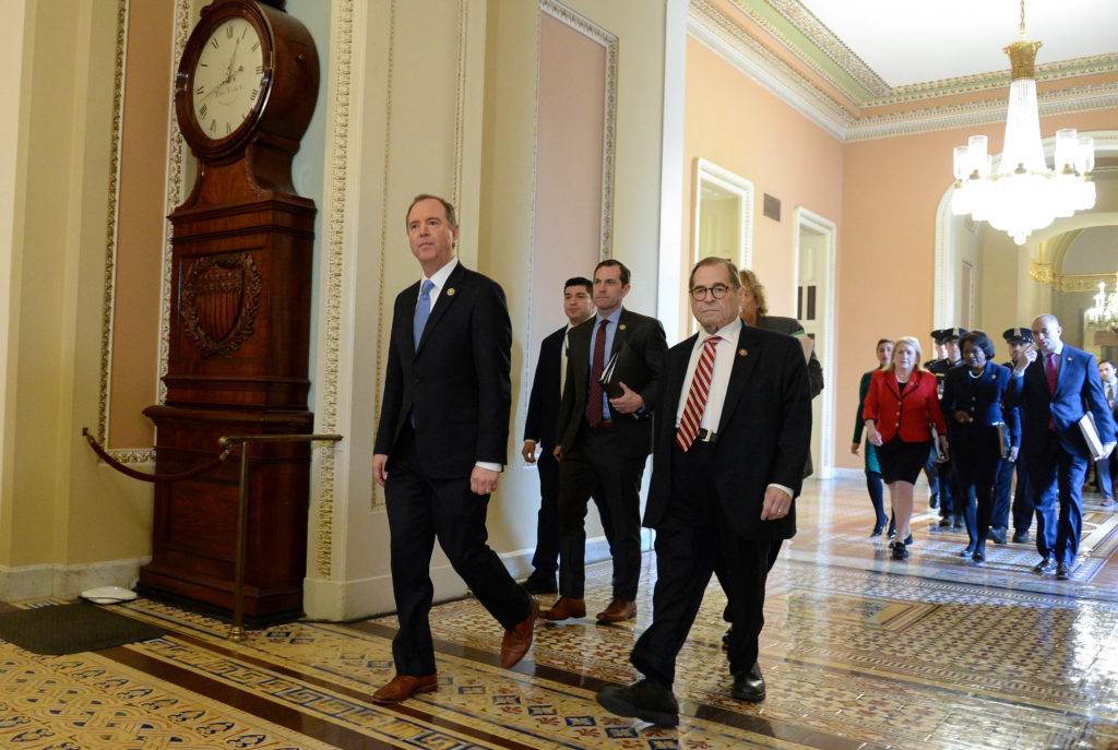House Managers lead by Rep. Adam Schiff, (D-CA) and Rep. Jerry Nadler, (D-NY) walk to the Senate floor for the Senate impeachment trial of President Donald Trump in Washington, U.S., January 23, 2020. Photo by Mary F. Calvert/Reuters