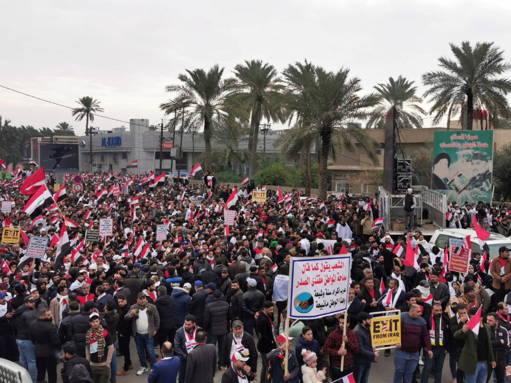 Supporters of Iraqi Shi'ite cleric Moqtada al-Sadr protest against what they say is U.S. presence and violations in Iraq, during a demonstration in Baghdad, Iraq January 24, 2020. Photo by Thaier al-Sudani/Reuters