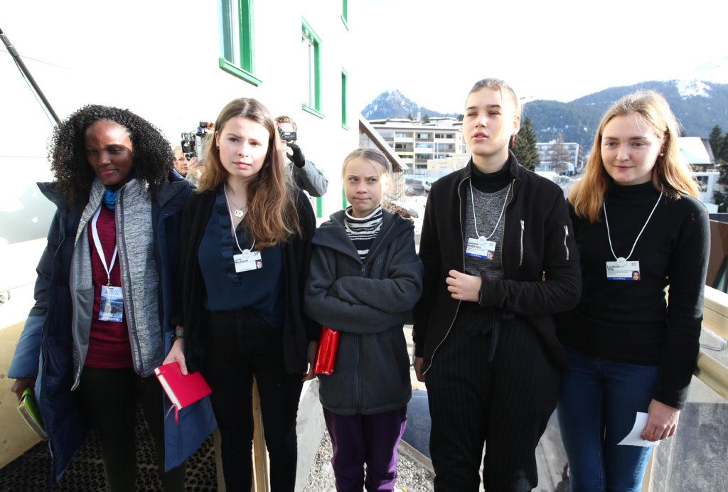 Climate change activists Swedish Greta Thunberg, GermanLuisaNeubauer, Swedish IsabelleAxelsson and Swiss activistLouki...