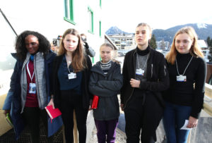 Climate change activists Swedish Greta Thunberg, GermanLuisaNeubauer, Swedish IsabelleAxelsson and Swiss activistLoukinaTille pose for a picture before attending a news conference during the 50th World Economic Forum (WEF) annual meeting in Davos, Switzerland, January 24, 2020. Photo by Denis Balibouse/Reuters