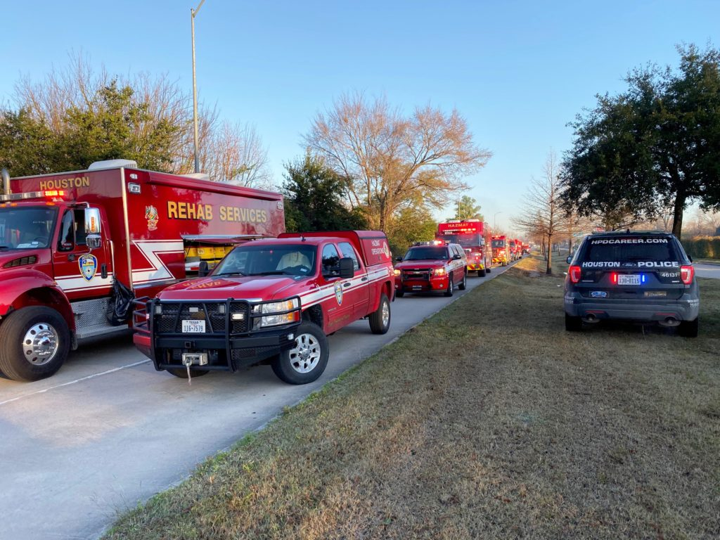 Emergency personnel work at the scene of an explosion in Houston, Texas, U.S., January 24, 2020. Photo by Collin Eaton/Reu...
