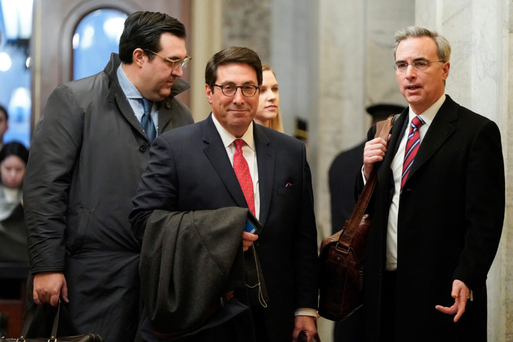 U.S. President Donald Trump's personal attorney Jay Sekulow (C) and White House counsel Pat Cipollone arrive as the impeachment trial of U.S. President Donald Trump continues in Washington, U.S., January 25, 2020. Photo by Joshua Roberts/Reuters