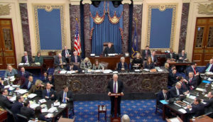 Attorney Ken Starr speaks as U.S. President Donald Trump's legal team resumes its presentation of opening arguments in Trump's Senate impeachment trial in this frame grab from video shot in the U.S. Senate Chamber at the U.S. Capitol in Washington, U.S., January 27, 2020. U.S. Senate TV/Handout via Reuters