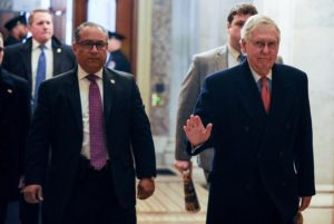 U.S. Senate Majority Leader Mitch McConnell (R-KY) arrives at the U.S. Capitol for the Senate impeachment trial of President Donald Trump in Washington, U.S., January 28, 2020. Photo by Mary F. Calvert/Reuters
