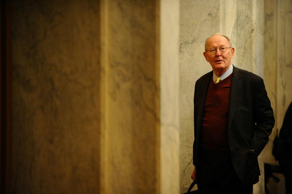 Sen. Lamar Alexander (R-TN) arrives at the U.S. Capitol before the …