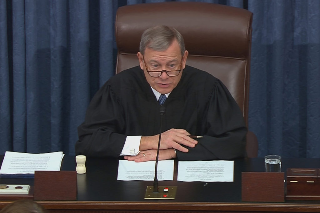 Chief Justice of the United States John Roberts presides during the impeachment trial of U.S. President Donald Trump in this frame grab from video shot in the U.S. Senate Chamber at the U.S. Capitol in Washington, January 31, 2020. Photo by U.S. Senate TV/Handout via Reuters