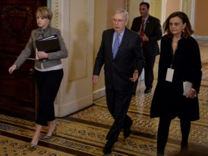 Senate Majority Leader Mitch McConnell (R-KY) walks to the Senate floor after a brief recess during the U.S. President Donald Trump's Senate impeachment trial in Washington, January 31, 2020. Photo by Mary F. Calvert/Reuters