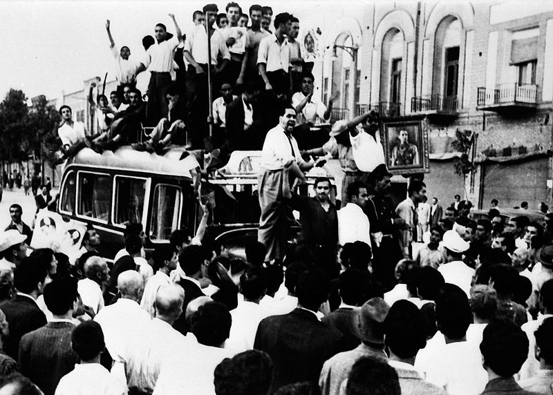 Pro-shah sympathizers demonstrate during the 1953 coup d'etat. Photo via Wikimedia Commons