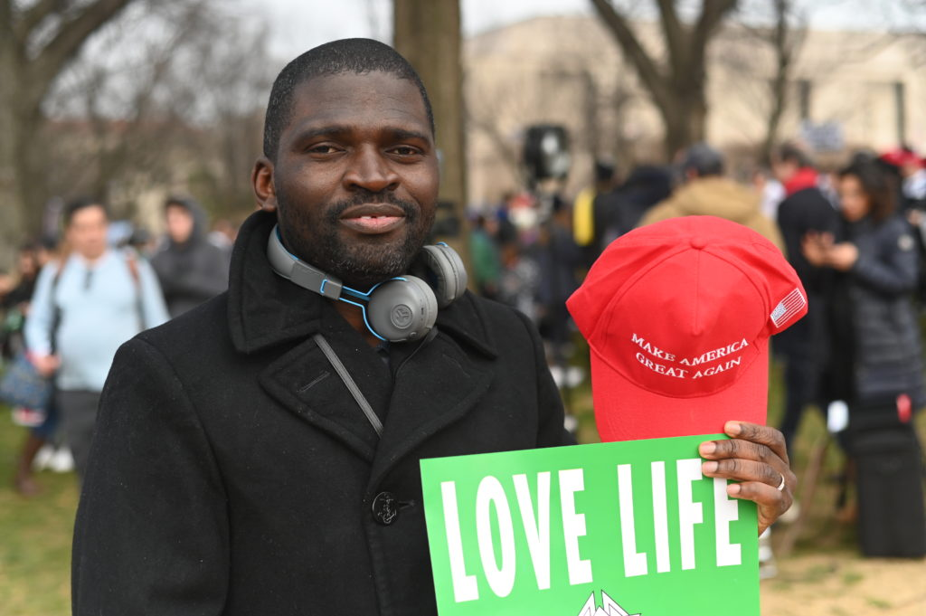 Macdonald Uboh, a 36-year old Maryland resident originally from Ghana, attend the March for Life in Washington, D.C. on January 24, 2020.