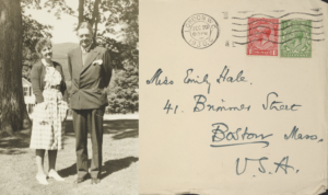 This image juxtaposes two photos. In the left photo, T.S. Eliot and Emily Hale are in Dorset, Vermont, in 1946. In the right, an envelope addressed to Hale at 41 Brimmer Street in Boston, Massachusetts, was handwritten by Eliot. Photo of the two friends courtesy of Princeton University Library. Photo of the envelope by Ashley Gamarello, courtesy of Princeton University Library