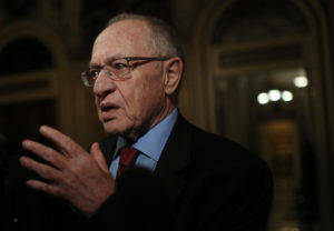 WASHINGTON, DC - JANUARY 29: Attorney Alan Dershowitz, a member of President Donald Trump's legal team, speaks to the press in the Senate Reception Room during the Senate impeachment trial at the U.S. Capitol on January 29, 2020 in Washington, DC. Wednesday begins the question-and-answer phase of the impeachment trial that will last up to 16 hours over the next two days. (Photo by Mario Tama/Getty Images)