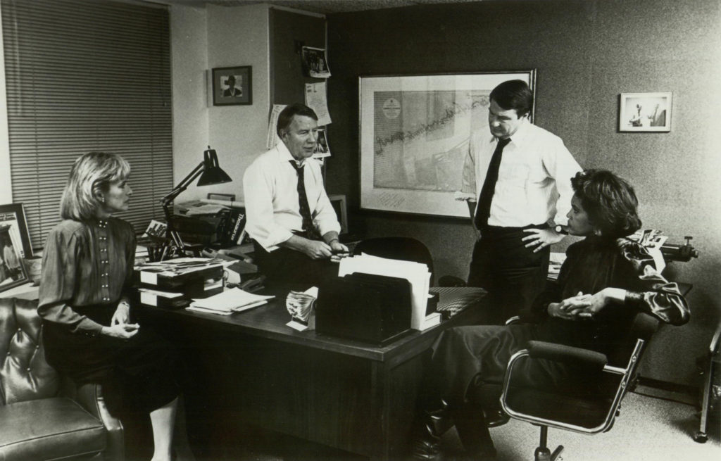 Jim Lehrer and Robert MacNeil meet with colleagues Judy Woodruff and Charlayne Hunter-Gault.