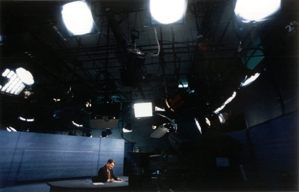 Jim Lehrer on the set of the NewsHour.