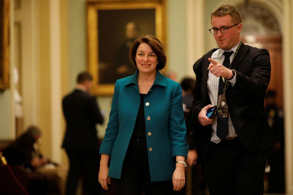 U.S. Presidential Candidate Senator Amy Klobuchar (D-MN) walks to t…