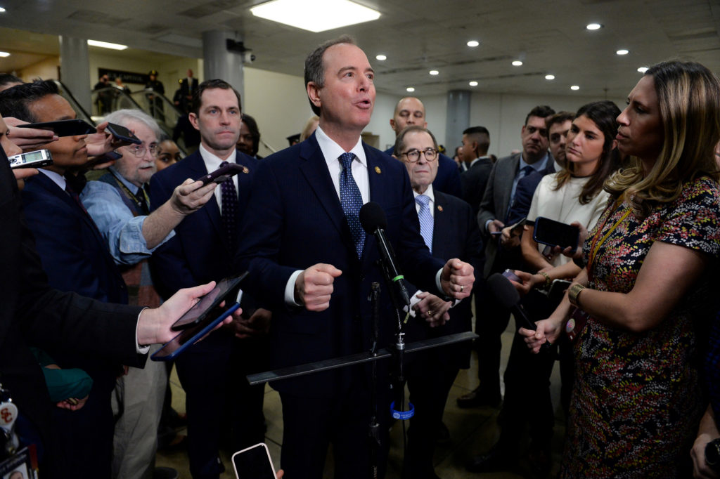 House Managers Rep. Adam Schiff (D-CA) speaks next to Rep. Jerry Nadler (D-NY) during a news conference near the Senate Su...