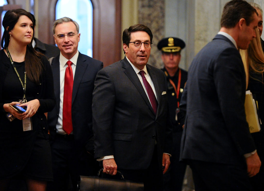 White House Counsel Pat Cipollone and U.S. President Donald Trump's personal attorney Jay Sekulow arrive at the U.S. Capit...