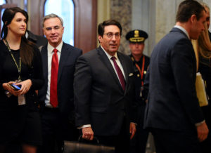 White House Counsel Pat Cipollone and U.S. President Donald Trump's personal attorney Jay Sekulow arrive at the U.S. Capitol for the Senate impeachment trial of President Donald Trump in Washington, U.S., January 30, 2020. REUTERS/Mary F. Calvert - RC2IQE9Y4JYH