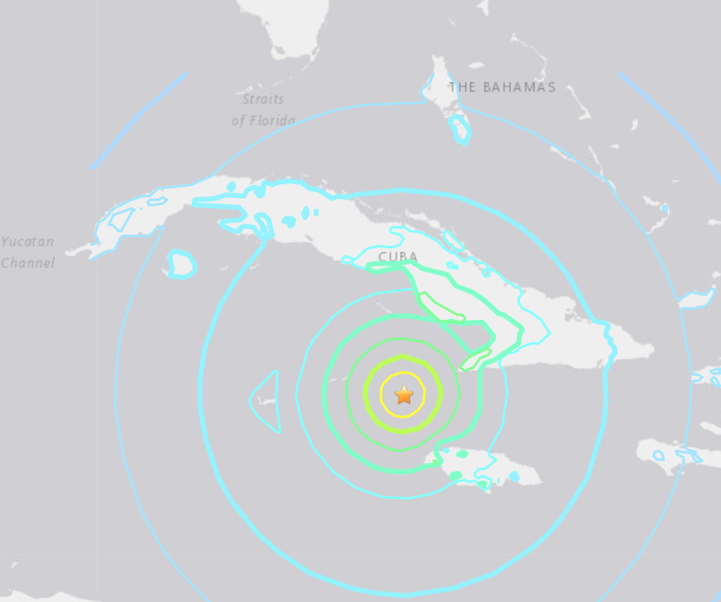 A map of the 7.7 magnitude quake shows it shook most intensely between Cuba and Jamaica Tuesday. Image courtesy USGS