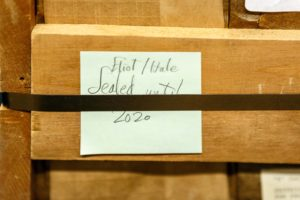 "A collection of 1,131 letters from T.S. Eliot to his longtime friend Emily Hale were opened for research at the start of 2020. The crate pictured above housed the collection for over 60 years at the Princeton University Library. A post-it note on the crate read, ""Eliot/Hale, sealed until 2020."" Photo by Shelley Szwast, Princeton University Library"