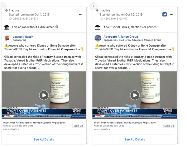 An example of Facebook ads about HIV-prevention drug Truvada. Screenshot by author of Facebook ad bank