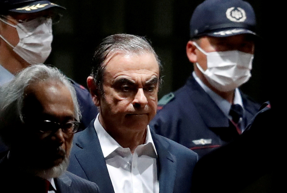 FILE PHOTO: Former Nissan Motor Chariman Carlos Ghosn leaves the To…
