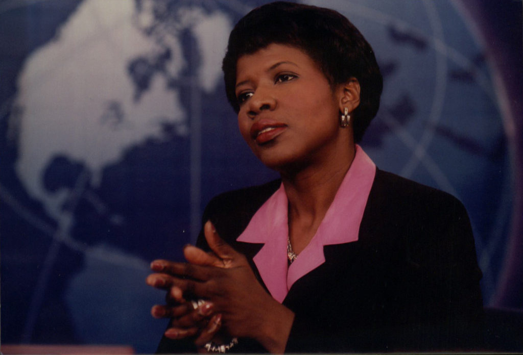 An archival photo of Gwen Ifill on an older