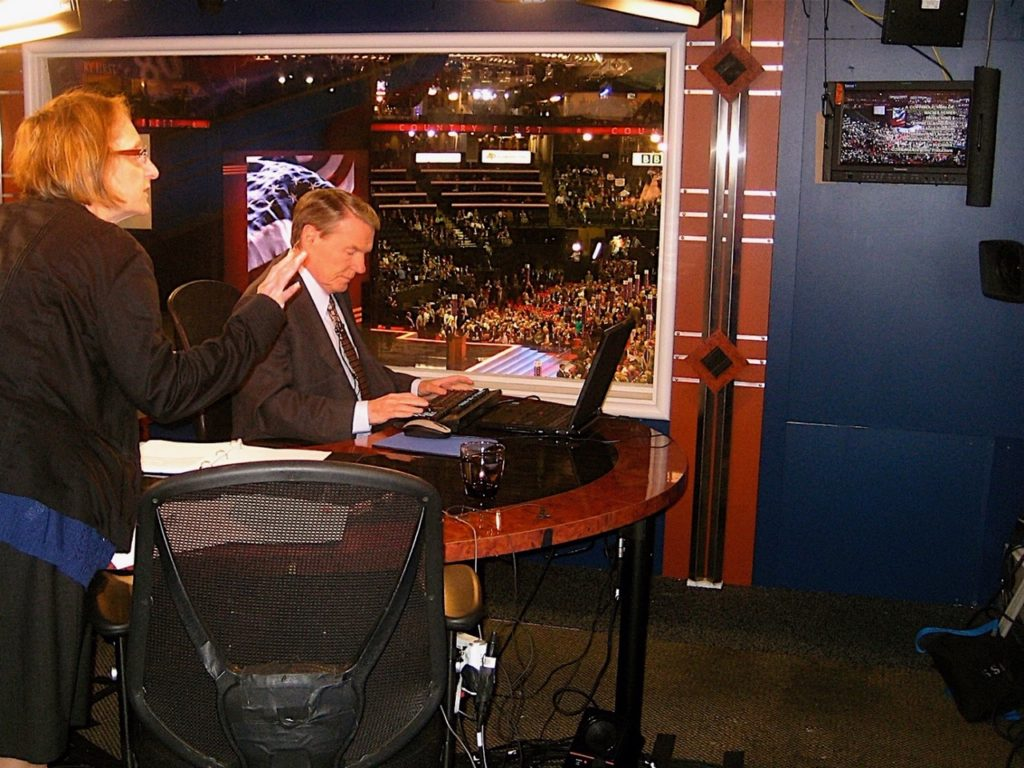 Producer Patti Parson works with Jim Lehrer during the 2008 Republican National Convention in St. Paul, Minnesota. Photo courtesy: Patti Parson