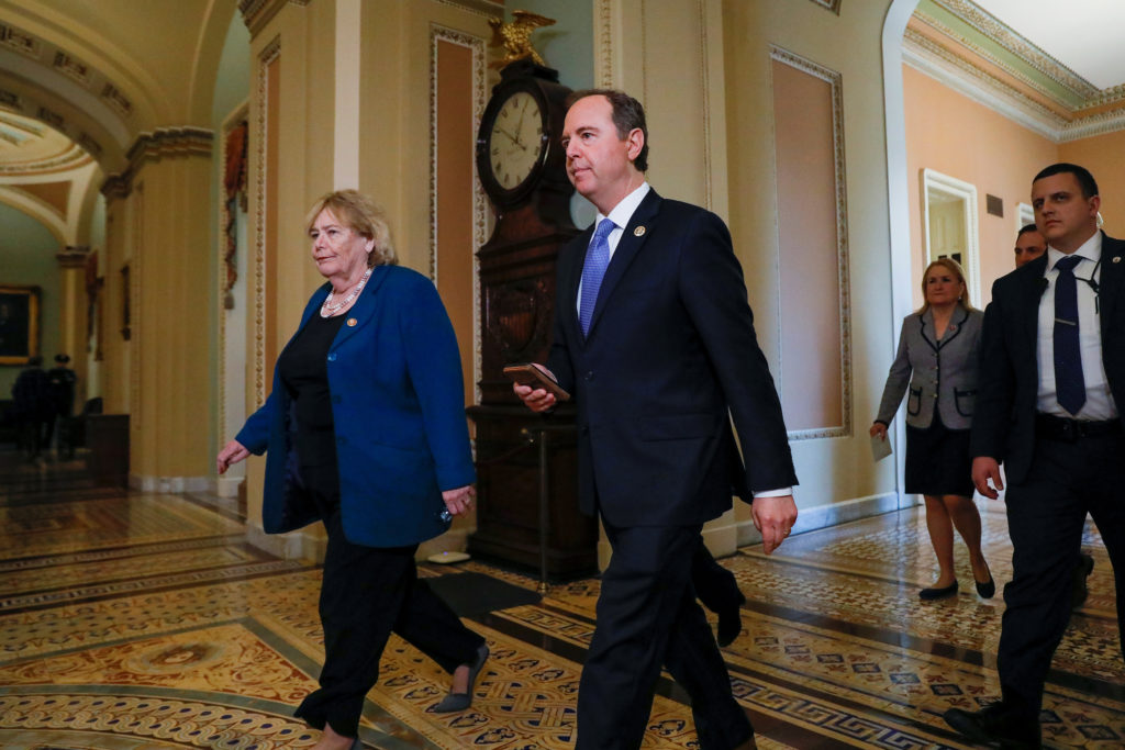 House impeachment managers Reps. Zoe Lofgren (D-CA) and Adam Schiff (D-CA) walk to the Senate chamber prior to the resumption of the Senate impeachment trial of U.S. President Donald Trump at the U.S. Capitol in Washington, U.S., January 30, 2020. REUTERS/Brendan McDermid?