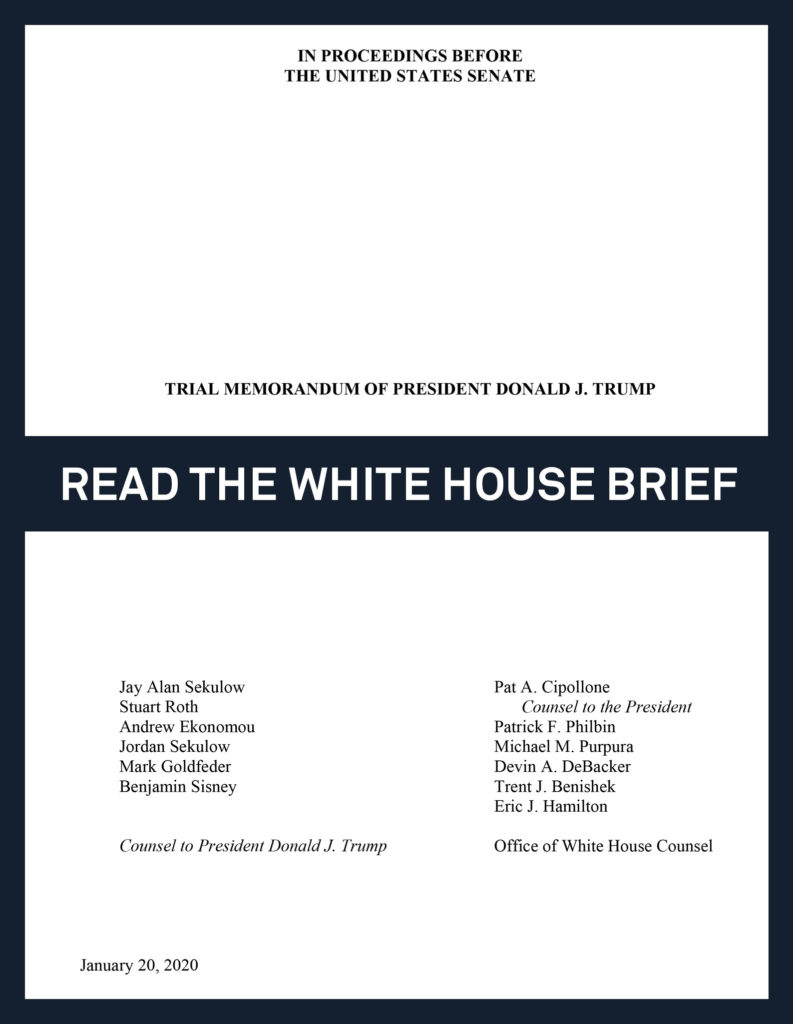 Read The White House S Arguments In Trump Impeachment Trial Pbs Newshour