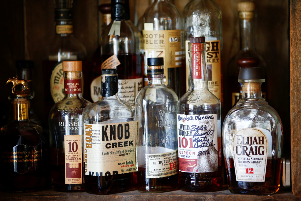 Bourbon whiskey is displayed at the World's End pub in London, Brit…