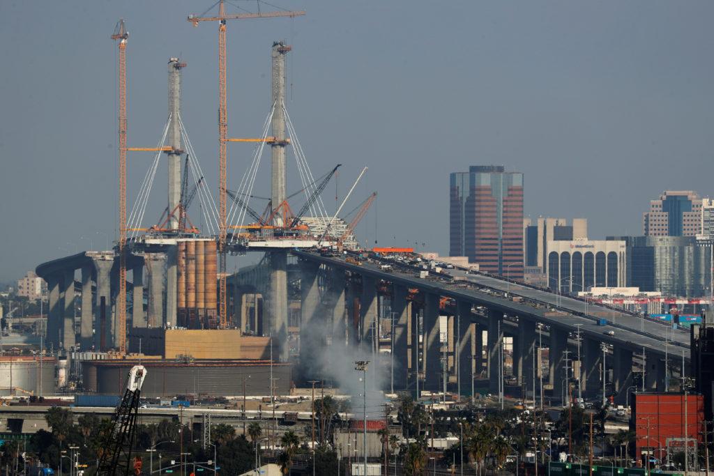 FILE PHOTO: Construction continues on the new Gerald Desmond Bridge…